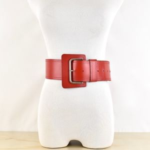 80s Wide Red Leather Belt Silver Hardware USA Made